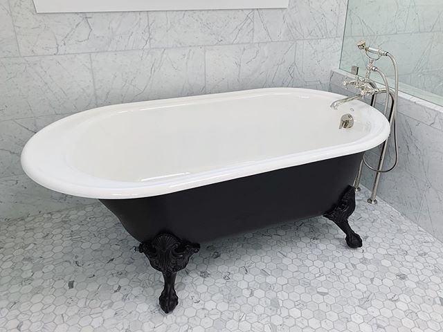 Classic black clawfoot tub at our Selby Ave renovation 🛁 . . . . . . . . . . . . . . . . . #interiordesigner #igdaily #masterbathremodel #remodel #masterbathroom #interiordesign #remodel #masterbathremodel #newyork #losangeles #2019 #inconstruction #design #interiordesign #work #womeninconstruction #progressphoto #progress #preview #renovation #design #monday