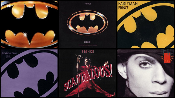 From top left to bottom right: the  Batman soundtrack and the separately released singles for  Batdance ,  Partyman ,  The Arms of Orion ,  Scandalous! , and  The Future .
