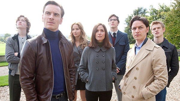 From left to right: Banshee, Magneto, Mystique, Moira MacTaggert, Beast, Professor X, Havok.