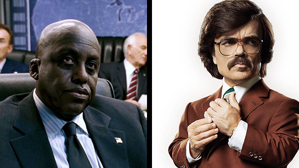 The two faces of Trask – Bill Duke (left) showing his excitement for being in  X-Men: The Last Stand  and Peter Dinklage (right) doing his best Ron Burgundy impression.