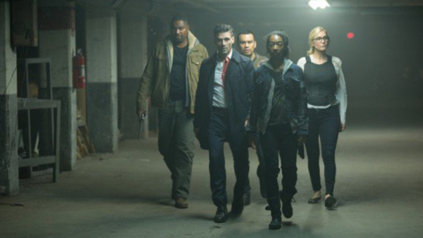 Our ragtag group of protagonists in  The Purge: Election Year . Apparently five is the magic number, as each film has had five people trying to survive together.