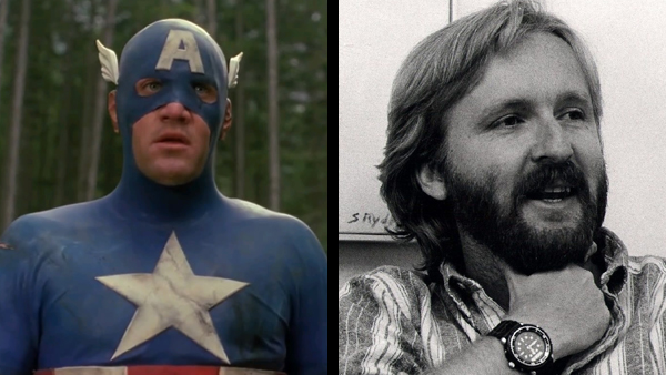 Matt Salinger (left) looks extremely uncomfortable and somewhat constipated as Captain America. James Cameron (right) sets his sights on Spider-Man.