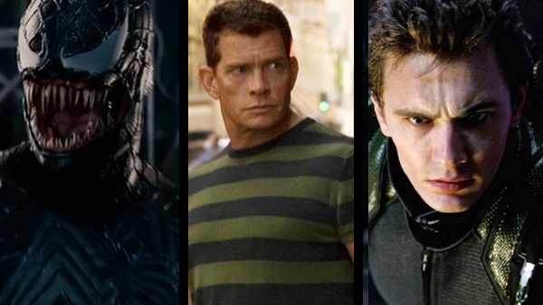 Spider-Man 3 's villain problem (from left to right): Topher Grace as Eddie Brock/Venom, Thomas Haden Church as Flint Marko/Sandman, and James Franco as Harry Osborn