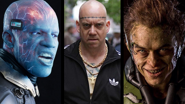 "Left to right: Jamie Foxx resembling Schwarzenegger's Mr. Freeze as Electro; Paul Giamatti as Rhino, doing something I didn't think he was capable of – giving a bad performance; and Dane DeHaan channeling ""Evil Ed"" from  Fright Night  as Harry Osborn/Green Goblin."