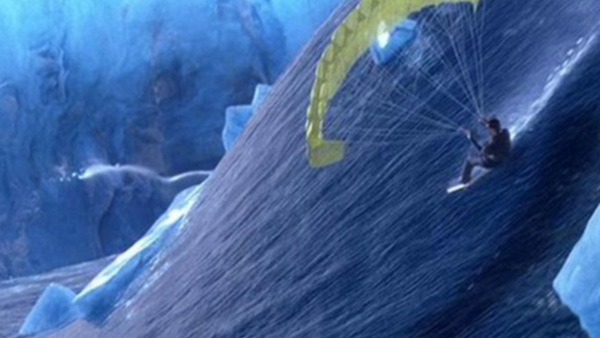 In  Die Another Day , James Bond survives a tsunami via a rocket car parachute, door panel and terrible CGI.