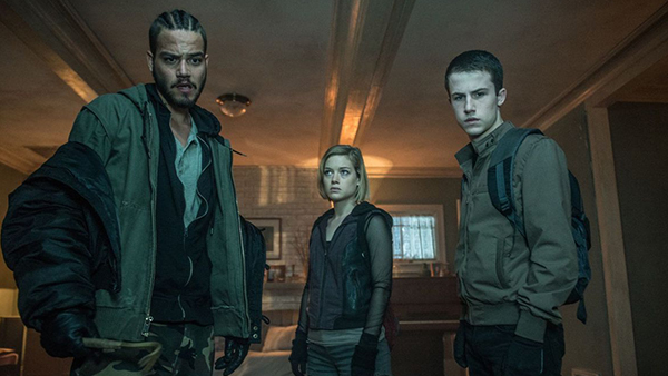 The burglars (from left to right): Money (Daniel Zovatto), Rocky (Jane Levy) and Alex (Dylan Minnette).
