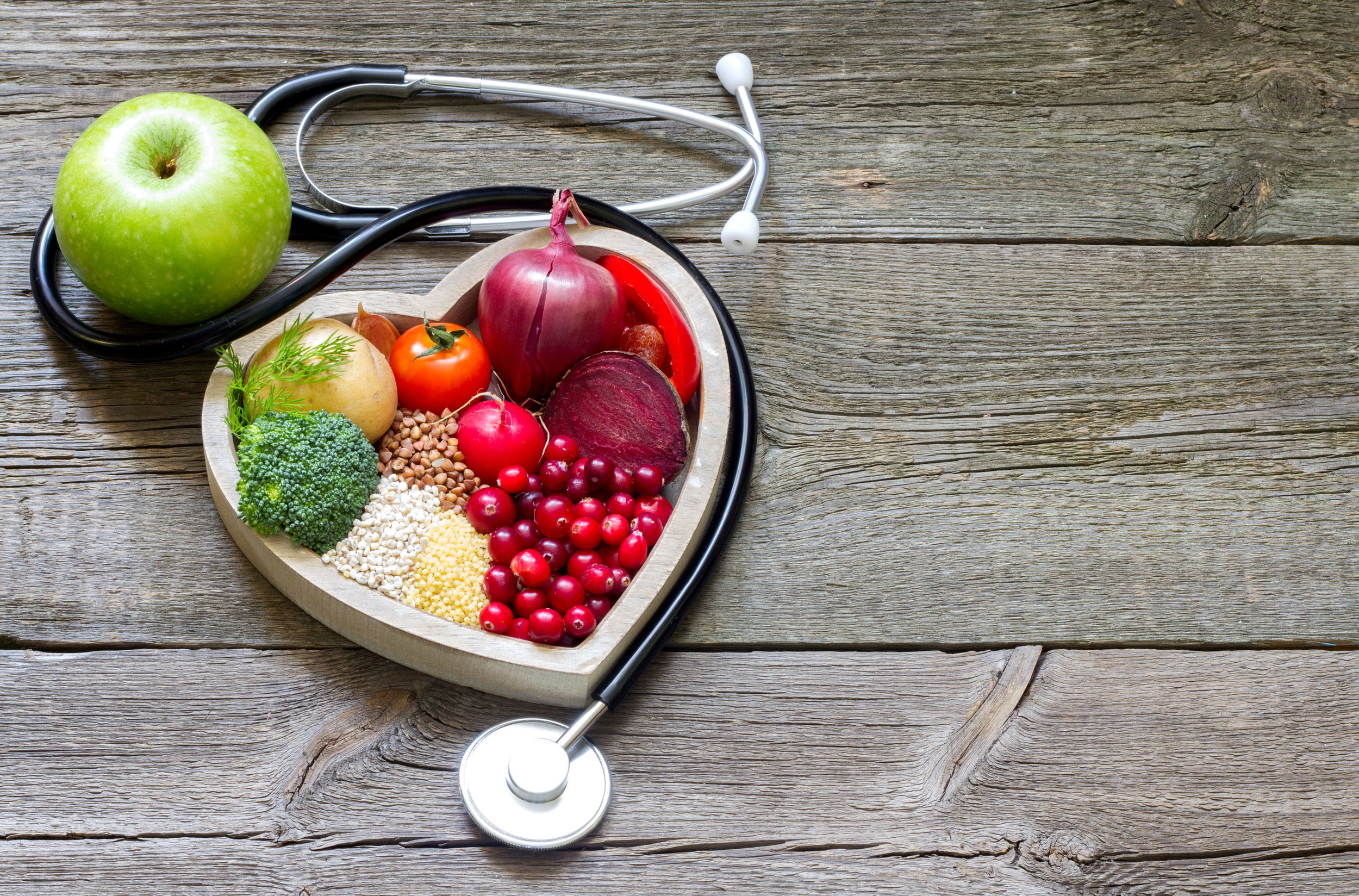 Heart, Healthy food, Stethoscope