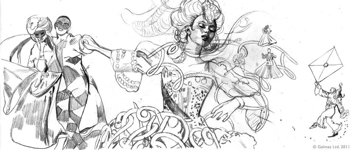 """Preliminary illustration for """"Les Carnets de Bal"""". On the left, a harlequin and woman in mask. The harlequin is holding the hand of the girl in the centre, who dances in ecstasy. On the right, a little joker brings a """"lettre anonyme"""". The Mazurka cuff is part of the dress and the Cotillon Necklace is around the dancer's neck."""