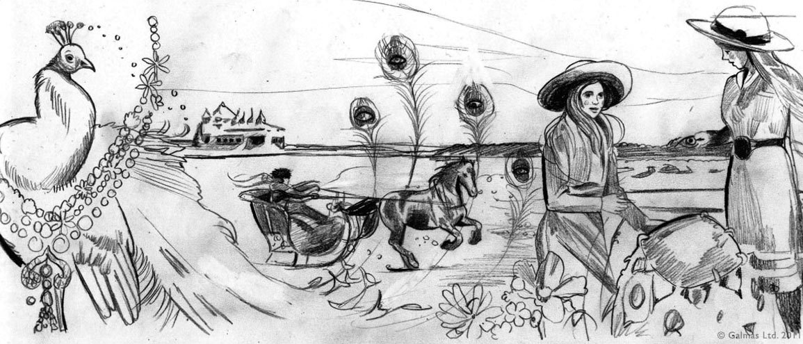 """Preliminary illustration for """"Les Saisons Russes"""". Transition from winter to summer landscape. In the background, a scene from Dr Zhivago, a woman riding her troika accross the winter landscape. On the left, a peacock is the symbol of resurrection. The goddess Juno, for example, is often pictured with a peacock by her side. She is said to have placed the hundred eyes of Argus on the peacock's feathers. Because the peacock loses his feathers every Autumn, he is also seen as a symbol of rebirth. Around the peacock, the Zhivago necklace. On the right, two girls are in summer fields, picking flowers. One of them holds a peacock's feather. Between them, among the flowers, we see the Délice dÉté ring."""