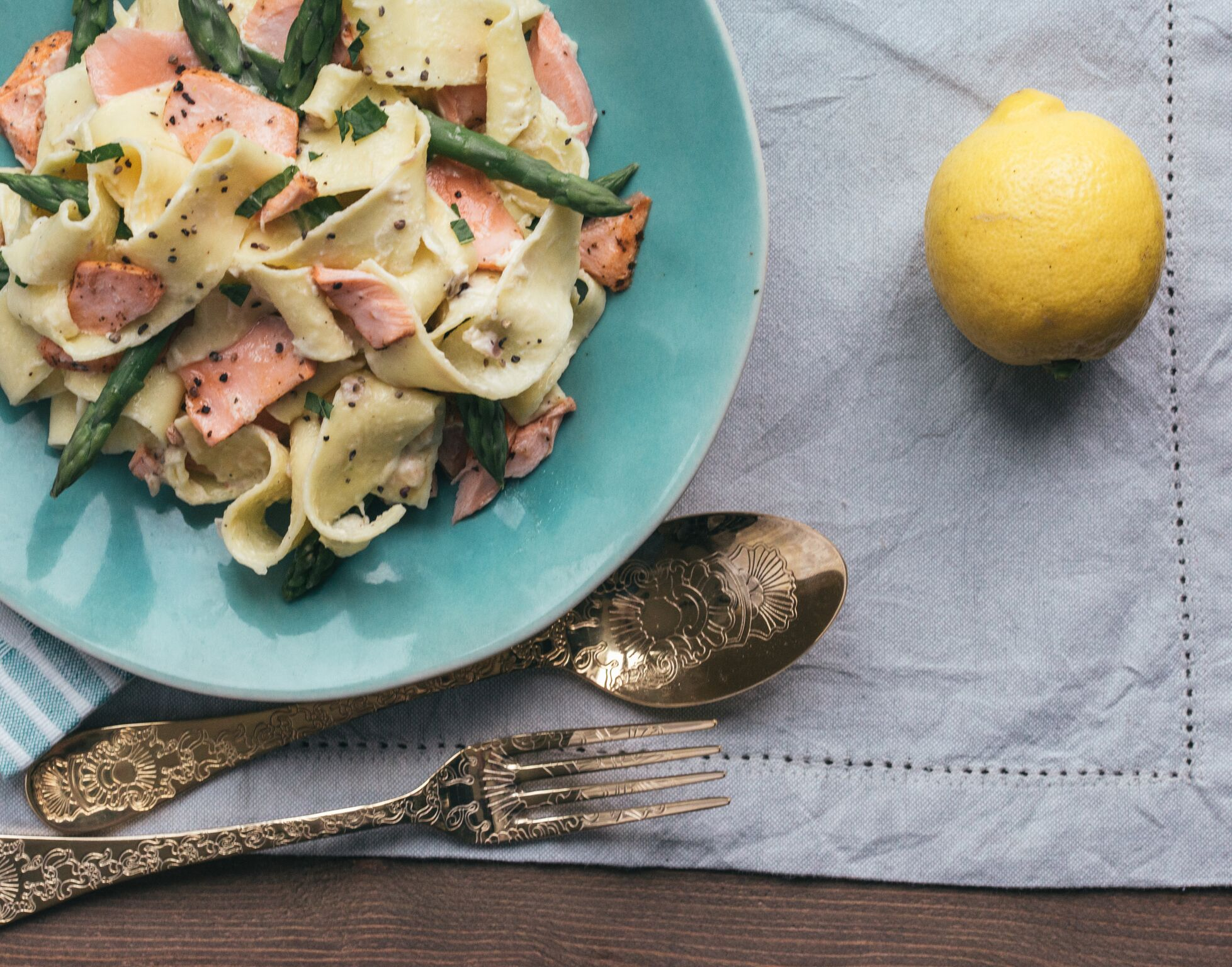BigFish Brand Minted Salmon with Lemon and Asparagus Pappardelle