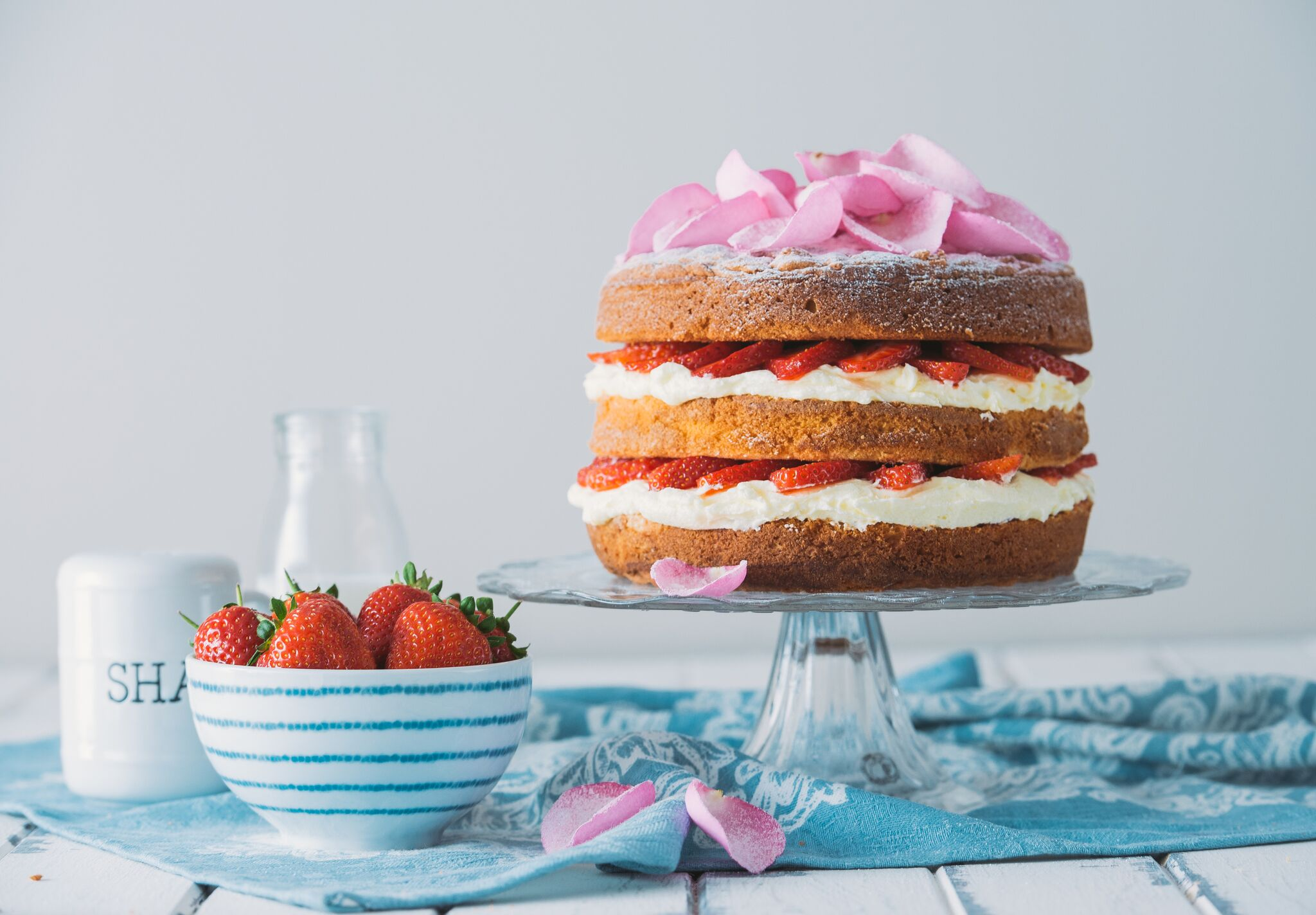 Victoria Sponge Cake with Sugared Rose Petals for The Great British Bake Off