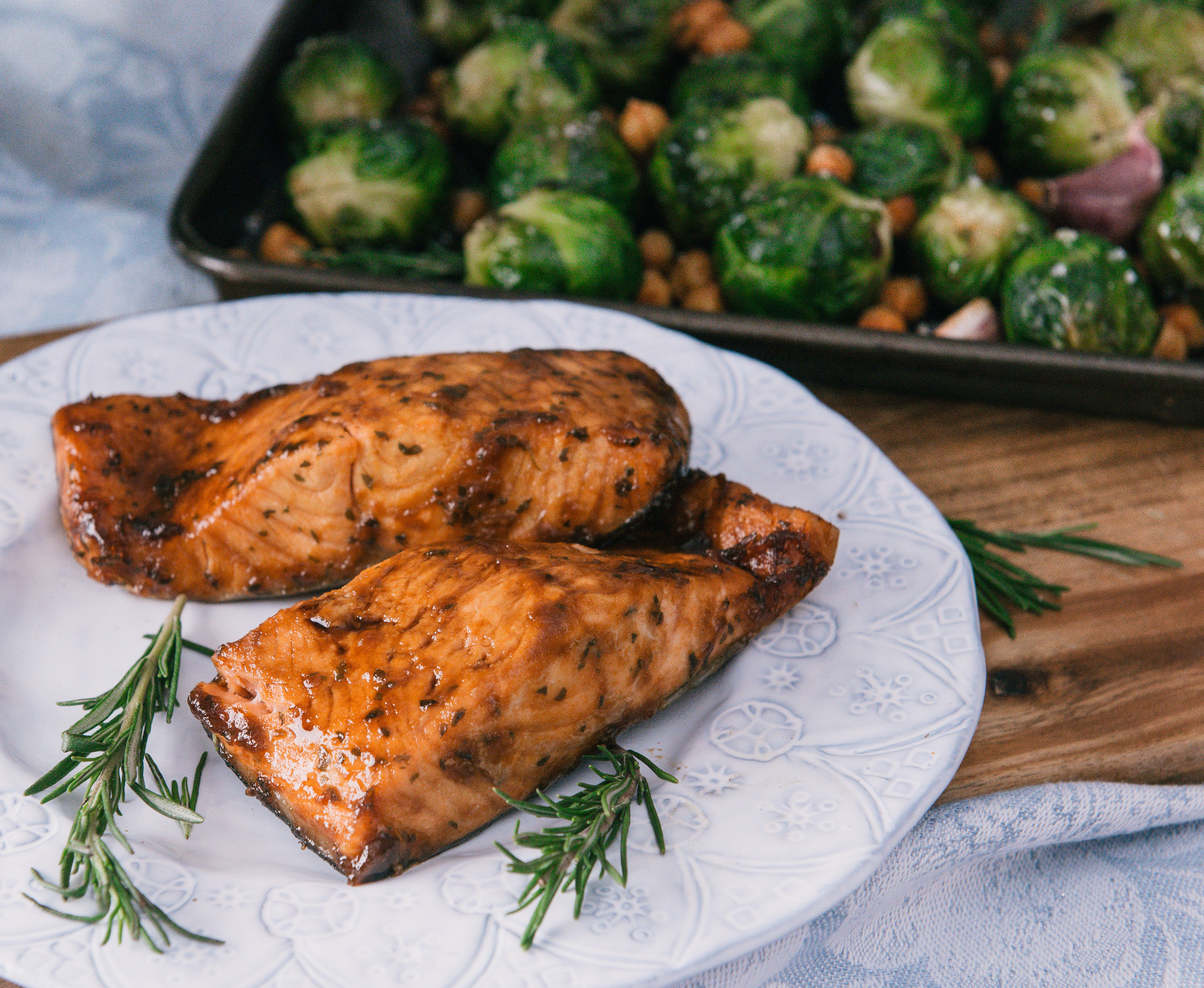 Sticky Maple Salmon with Brussel Sprouts and Chickpeas