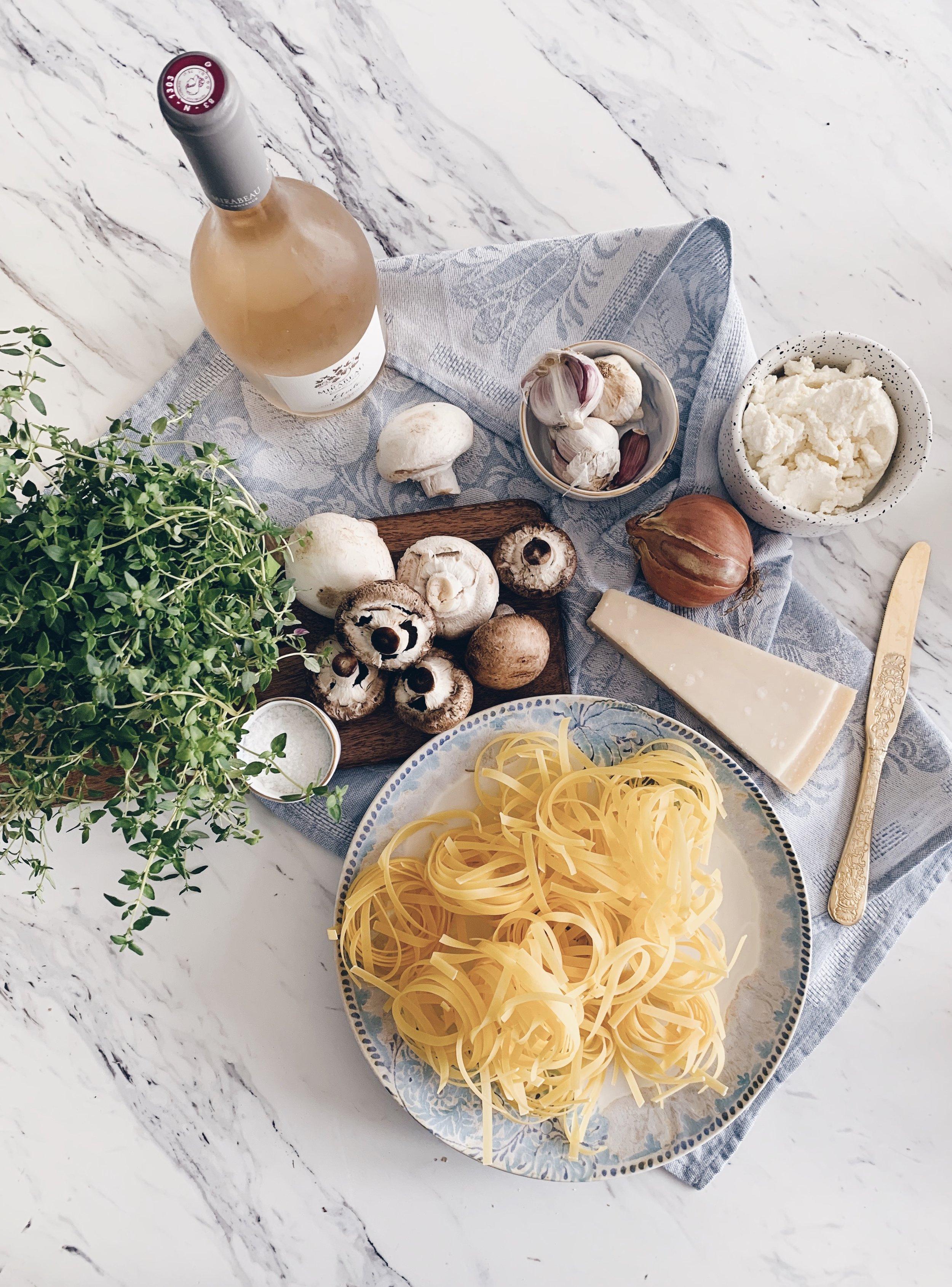 Mirabeau Rose Etoile with Mushroom Pasta