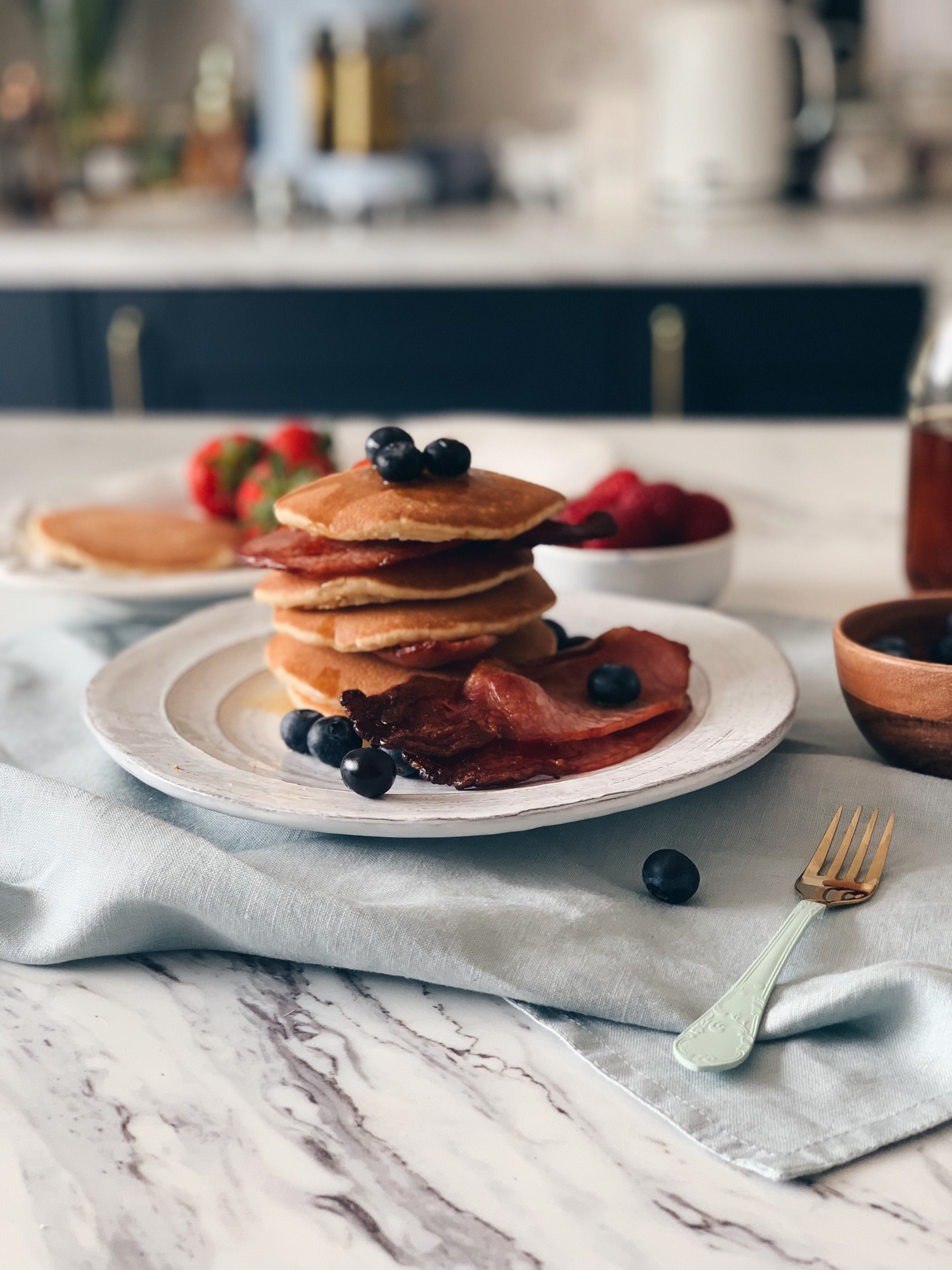 Bacon maple syrup pancakes, Denhay
