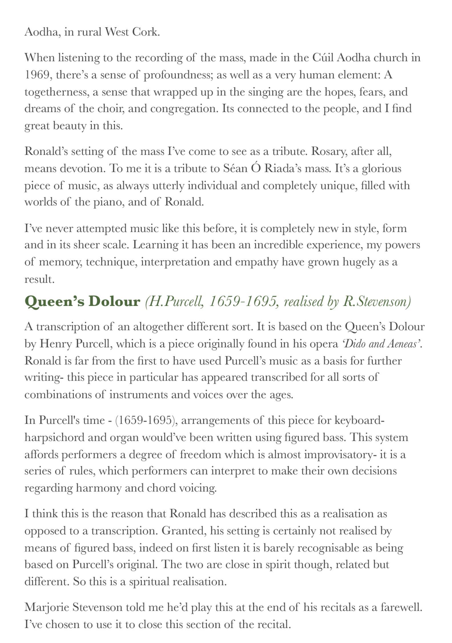 Programme Notes — Joseph Peach