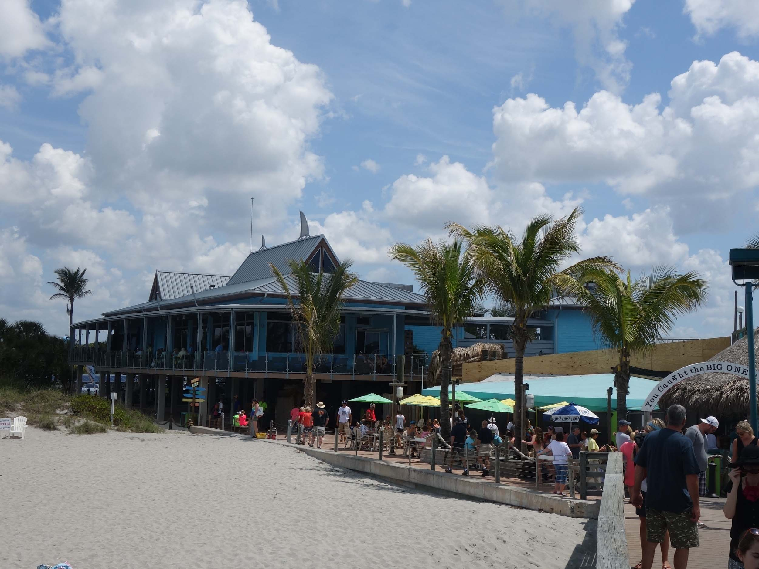 Sharky's on the pier exterior beach view