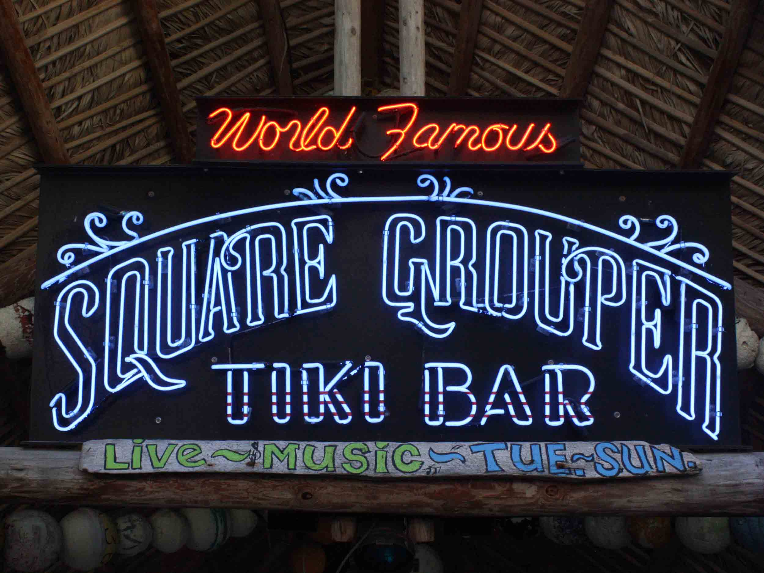 World Famous Square Grouper Tiki Bar Sign
