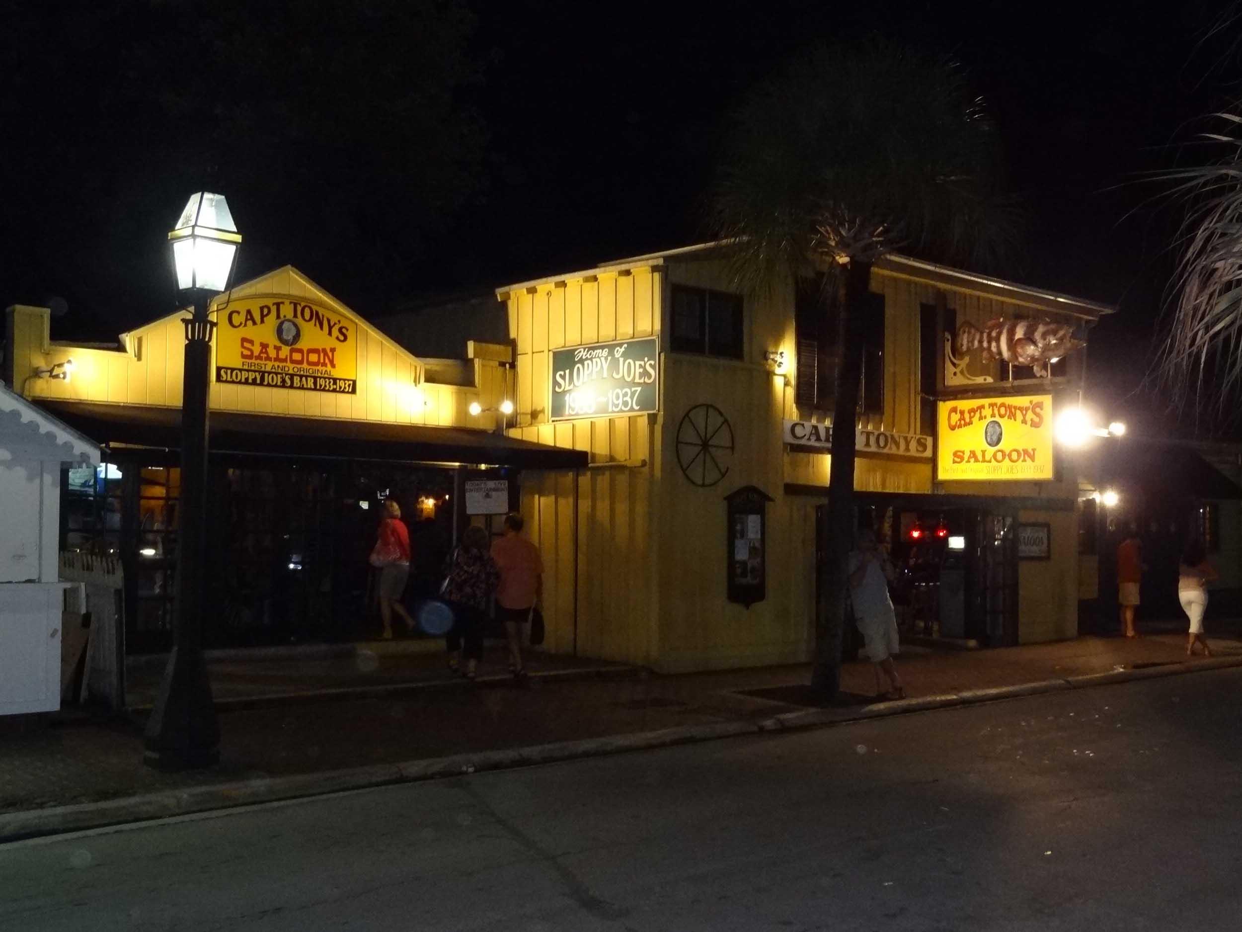 Nighttime at Captain Tony's Saloon