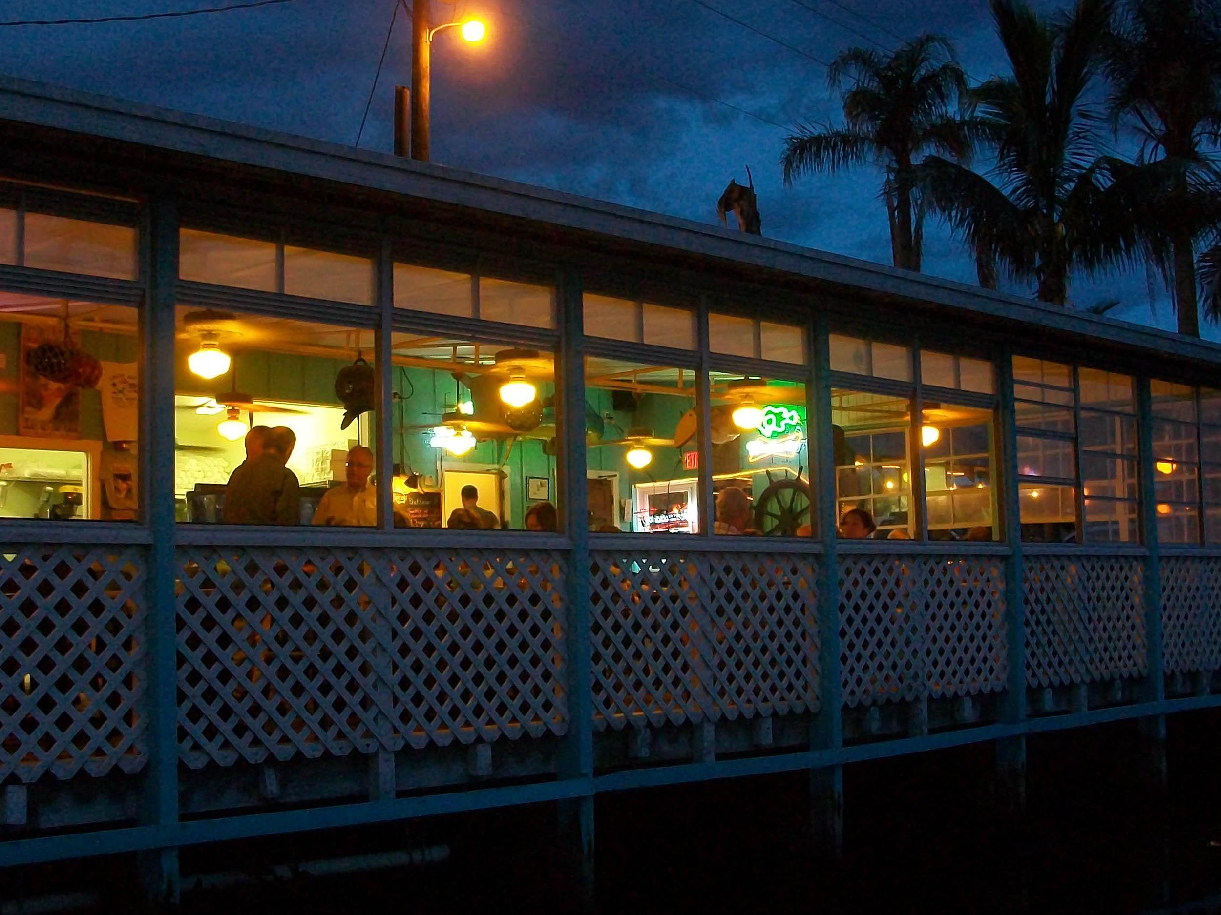 Casey Key Fish House Exterior at Night