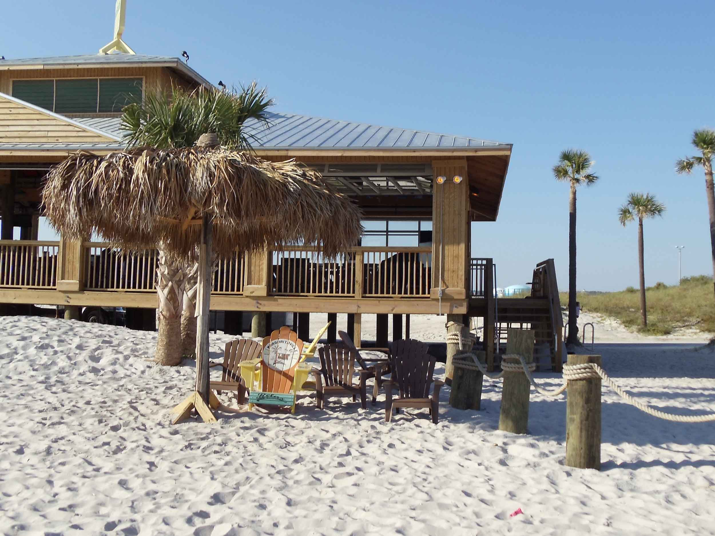 LandShark Landing Beach Bar Chairs in the Sand