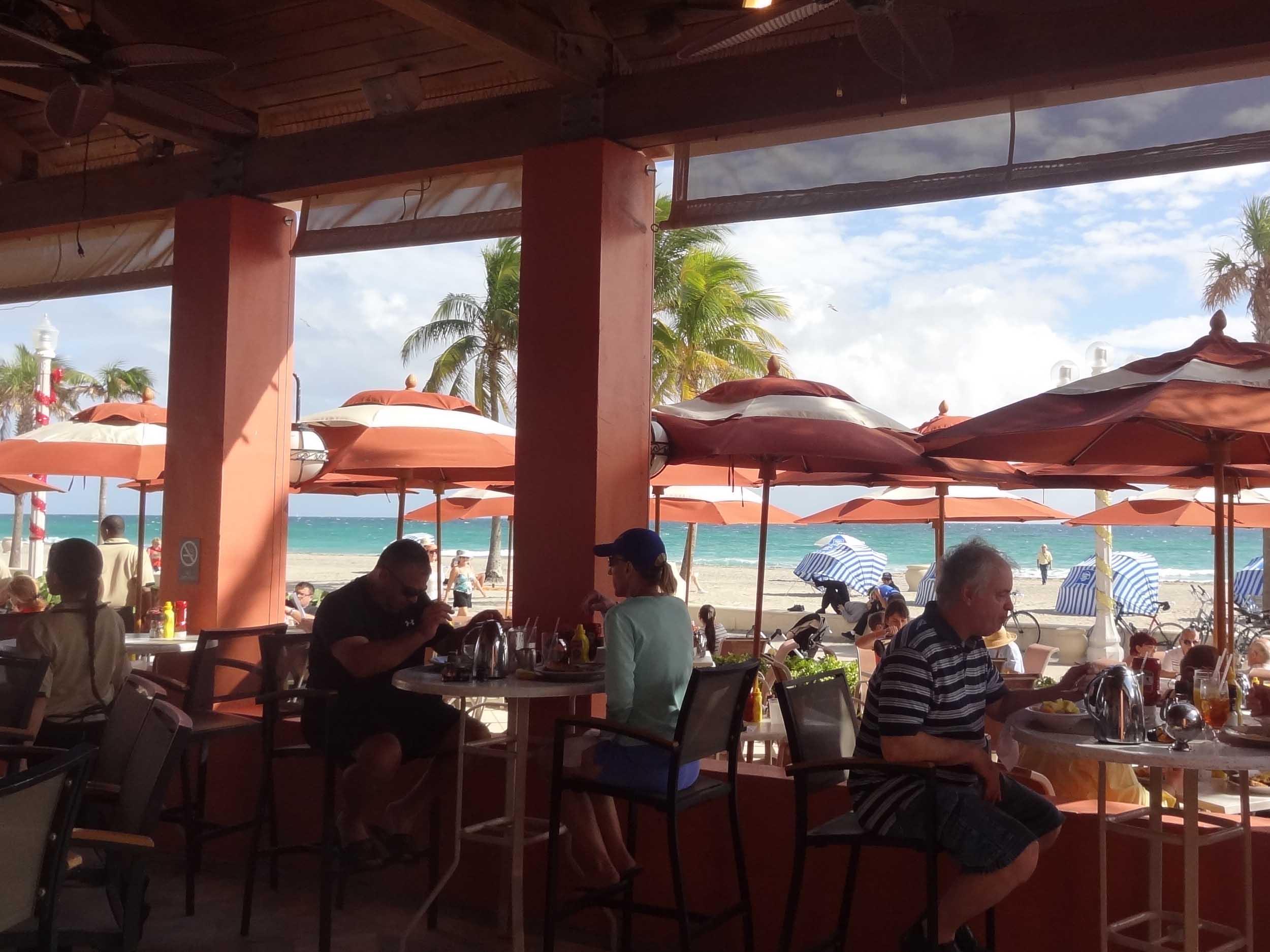 Latitudes Tiki Bar Indoor Dining Area and Beach View
