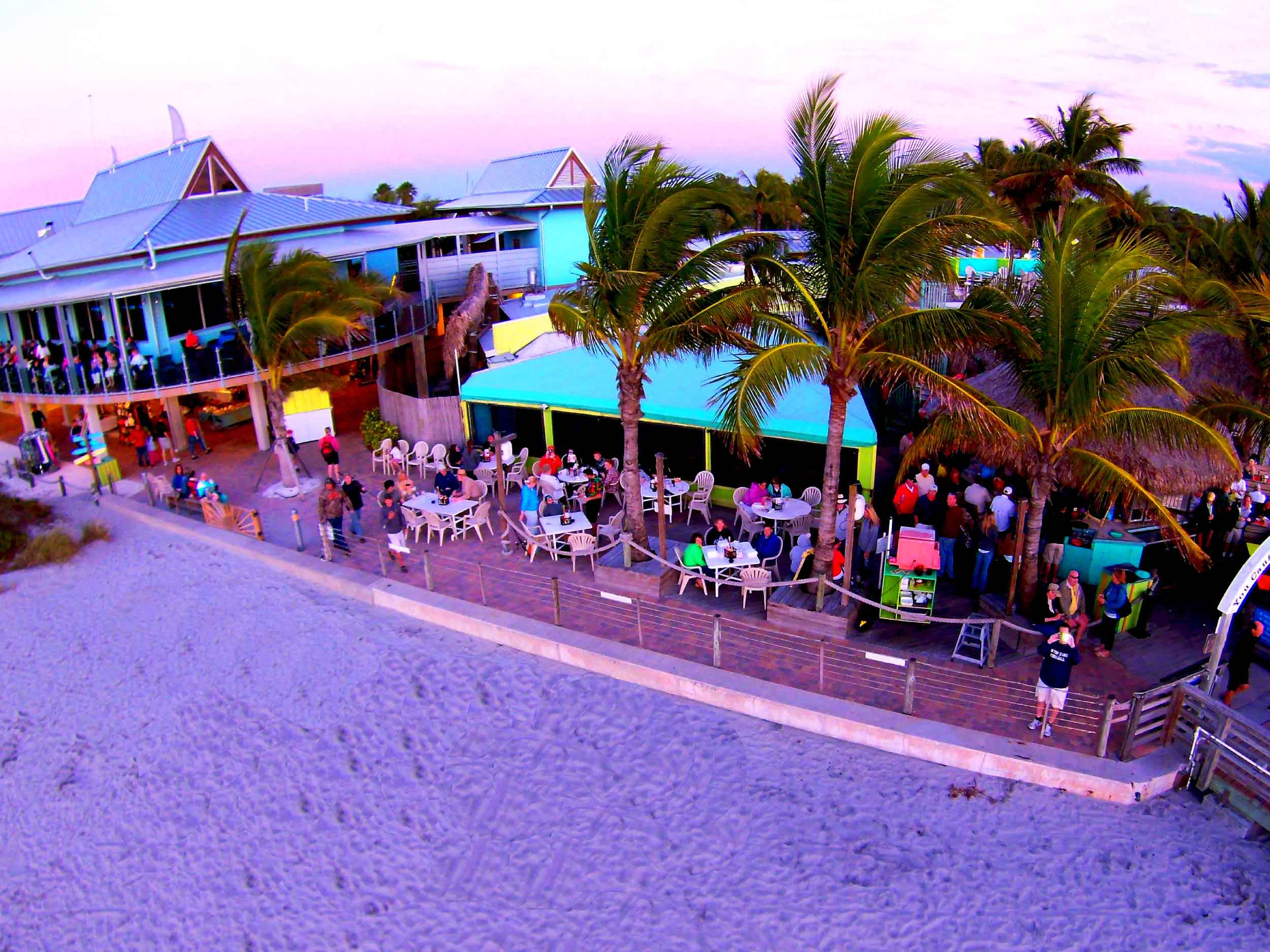 Sharky's on the Pier at Sunset Aerial View