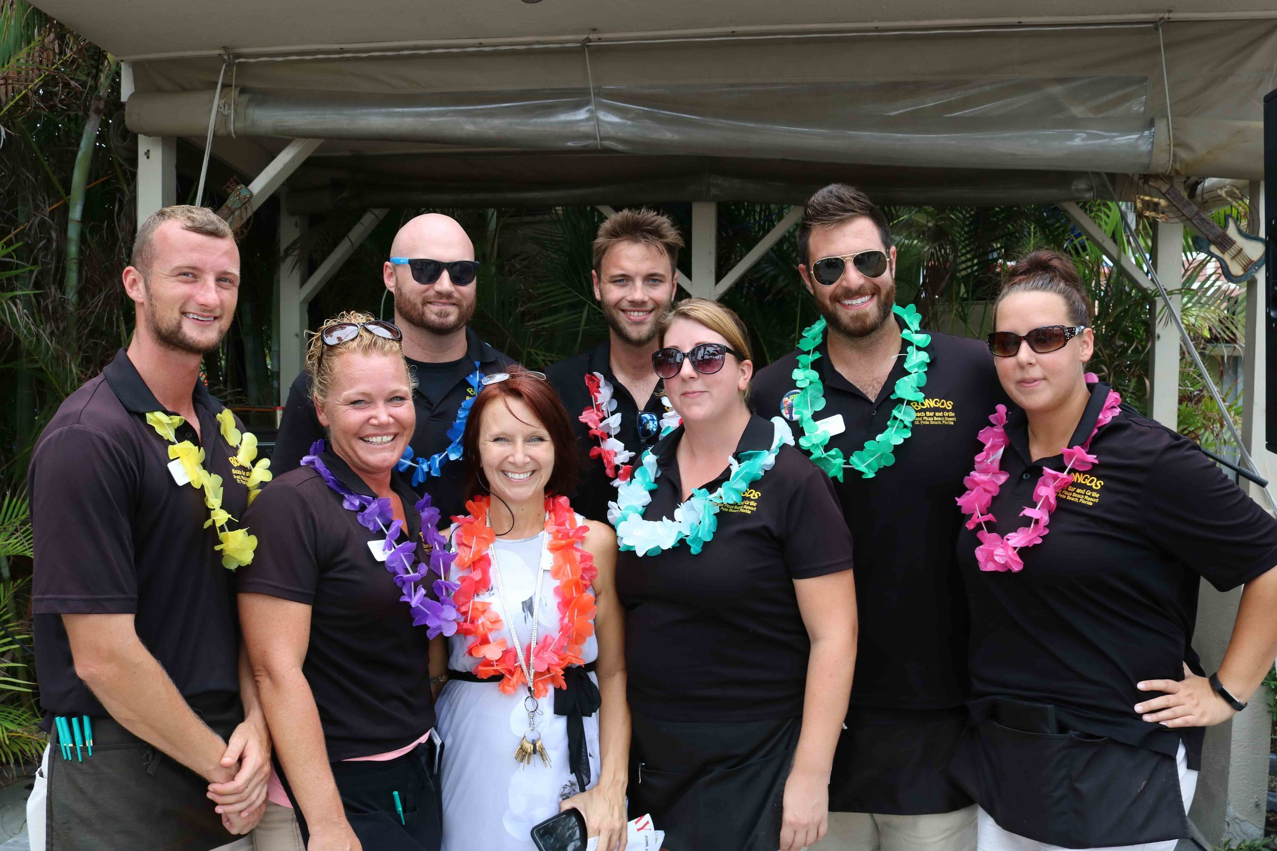 The staff at Bongos Beach Bar celebrates