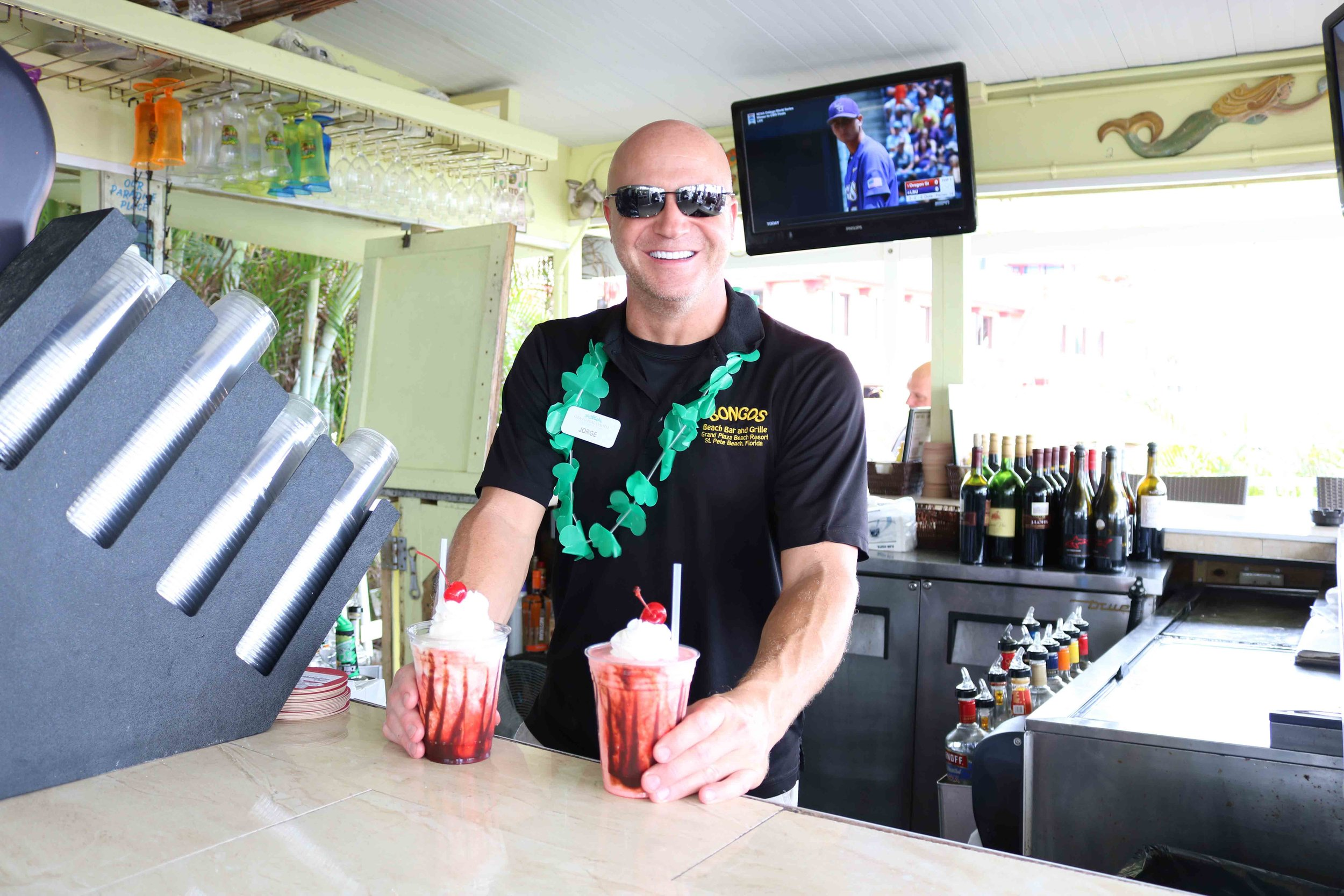 Serving cold beach drinks for the 2017 award party