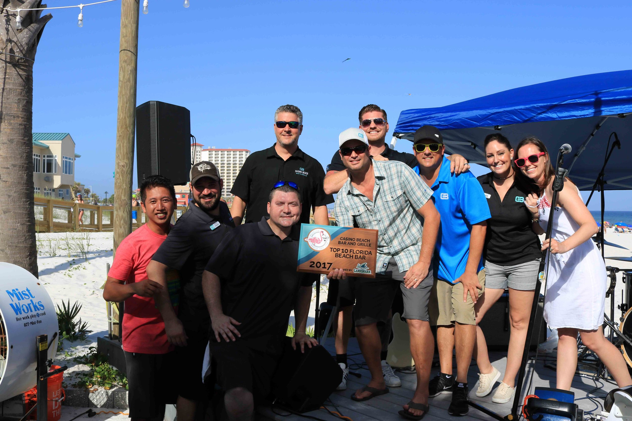 Matt and the team accept the 2017 Top 10 Florida Beach Bar award