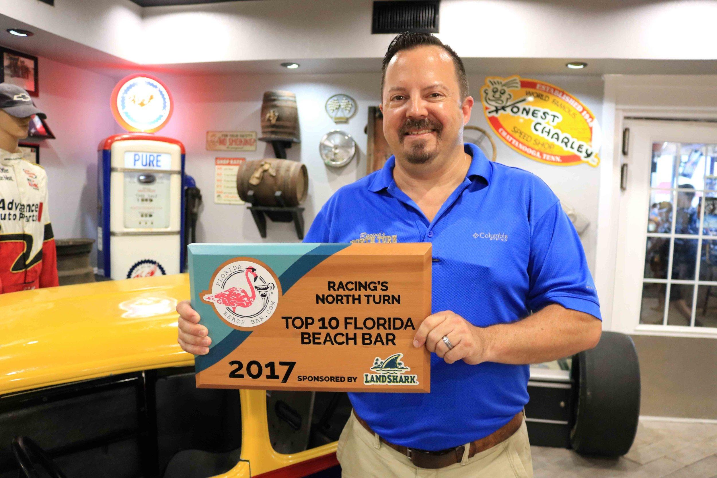 Racing's North Turn General manager, Lars Bienemann, Receives the Top 10 Florida Beach Bar Award