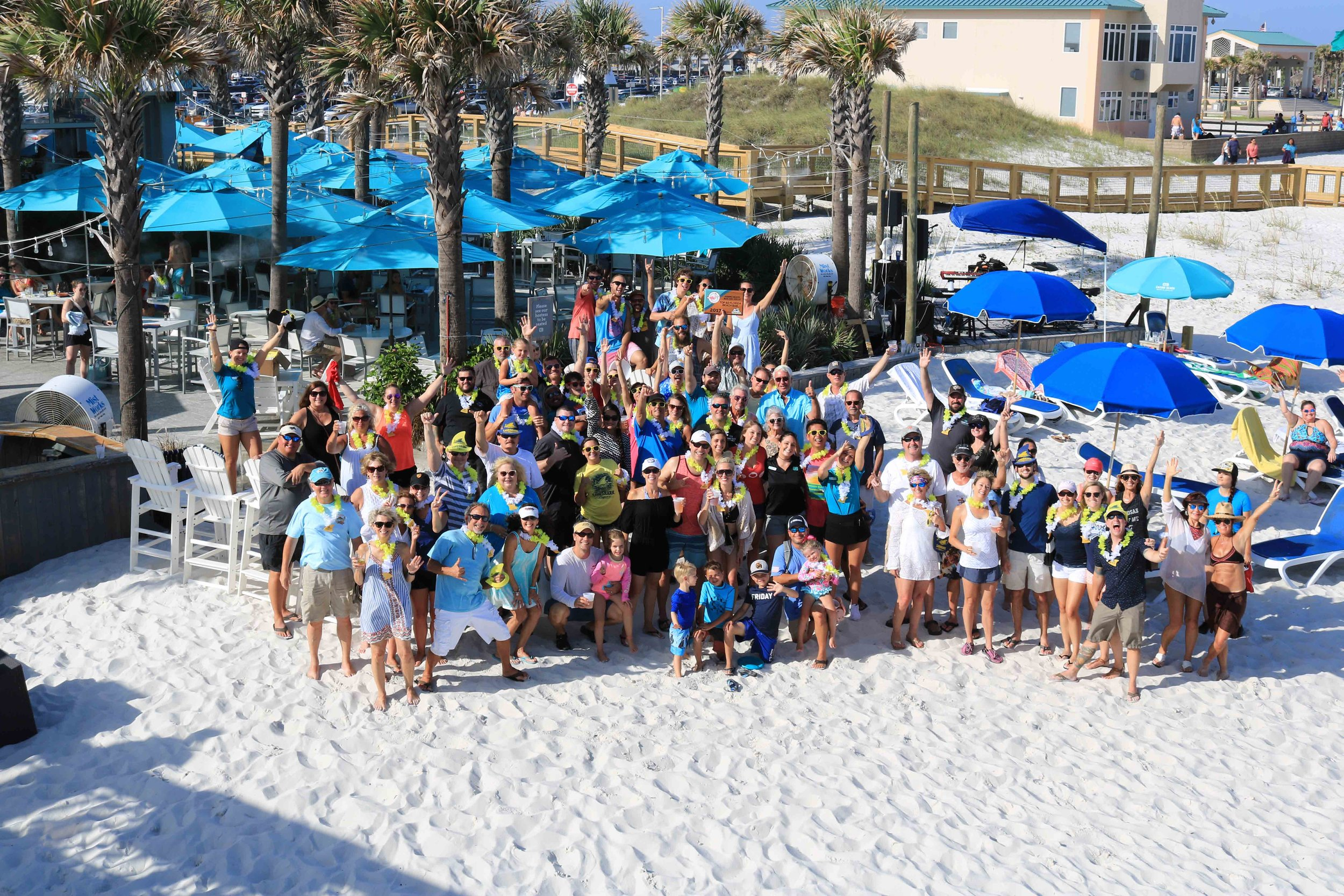 casino beach bar staff and guests celebrate their  top 10 florida beach bar award