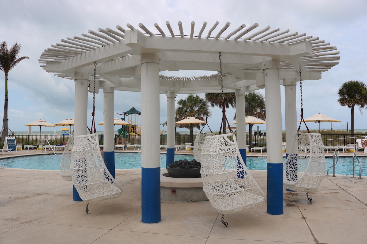 Hanging Chairs by Pool