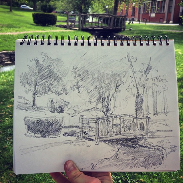 #sketch #sketchbook #Saratoga #tgif #pleinair  (at Congress Park)
