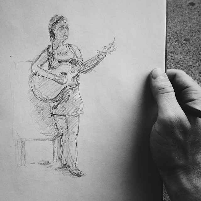 #sketch #sketchbook #Saratoga #streetperformers