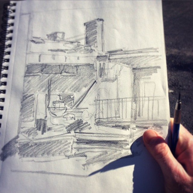 First plein air #sketch of twenty-fifteeeeen! 🙌☀️ #sketchbook #exploresaratoga #saratoga #lfis #chiaroscuro
