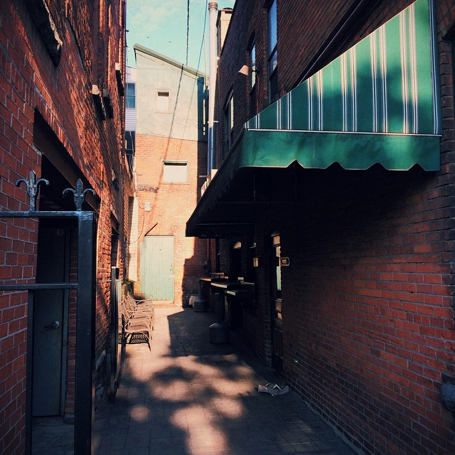 Gettin' inspired by some morning shadows dappling 9 Maple's alleyway; I have the BEST commute.  #fall #lighting #mood #saratoga #lfis