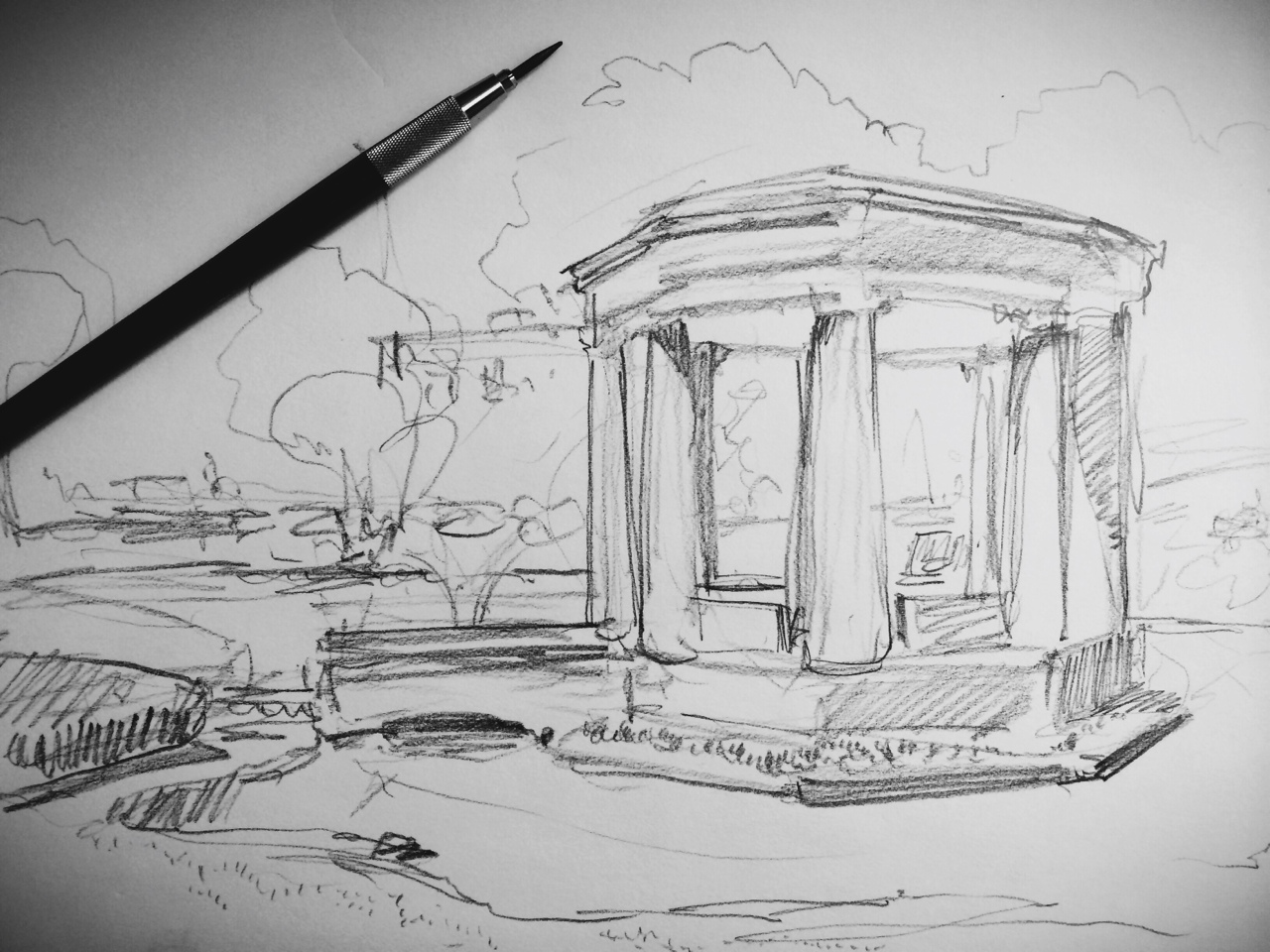 sketching today in Congress Park - The Saratoga Springs War Memorial