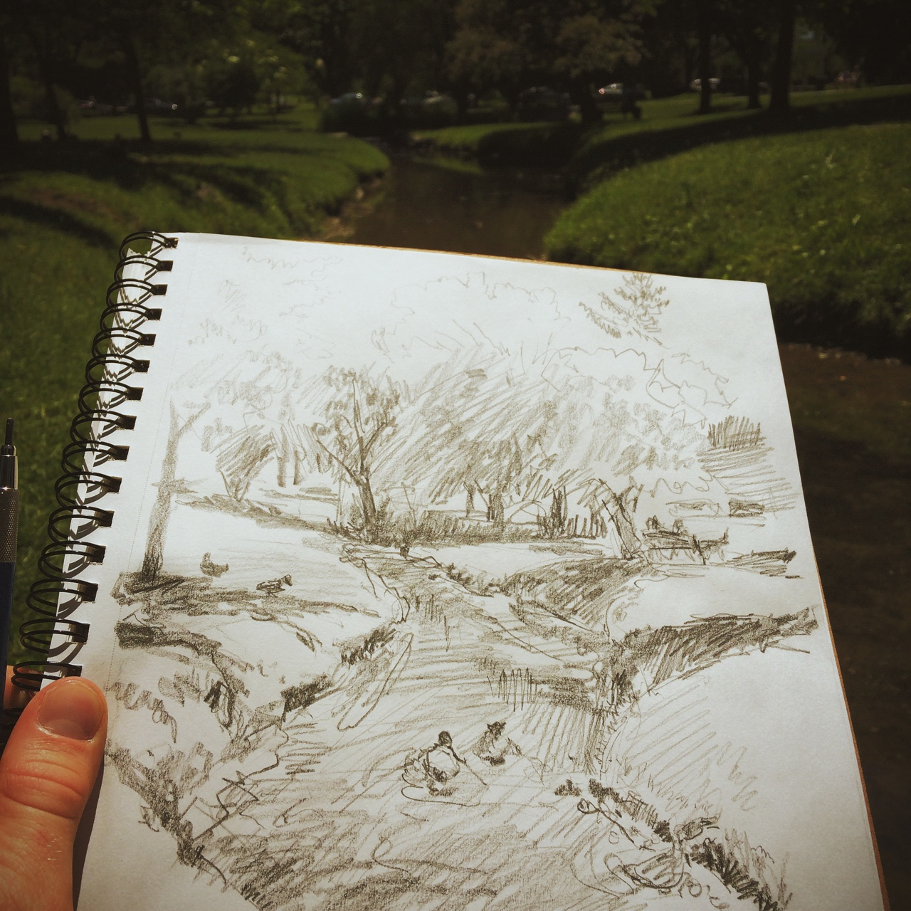 plein air sketch in Congress Park on this beauteous day