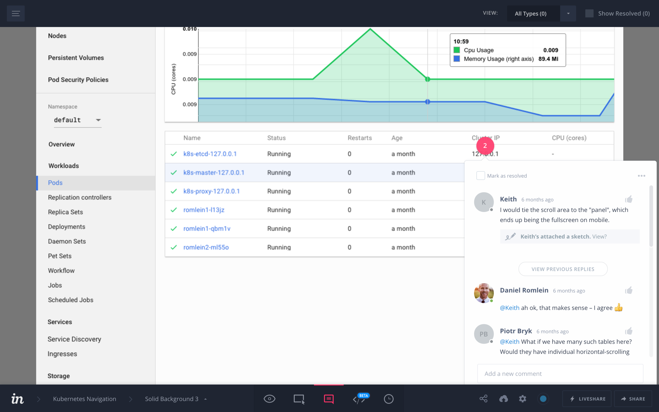 Collaboration with Google Cloud Platform designers using InVision