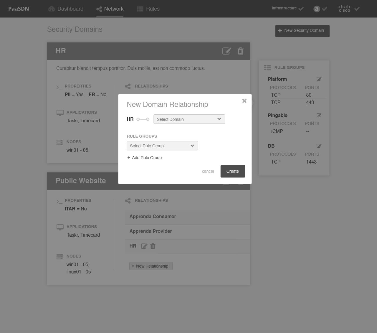 "Wireframe for ""New Domain Relationship"" modal"