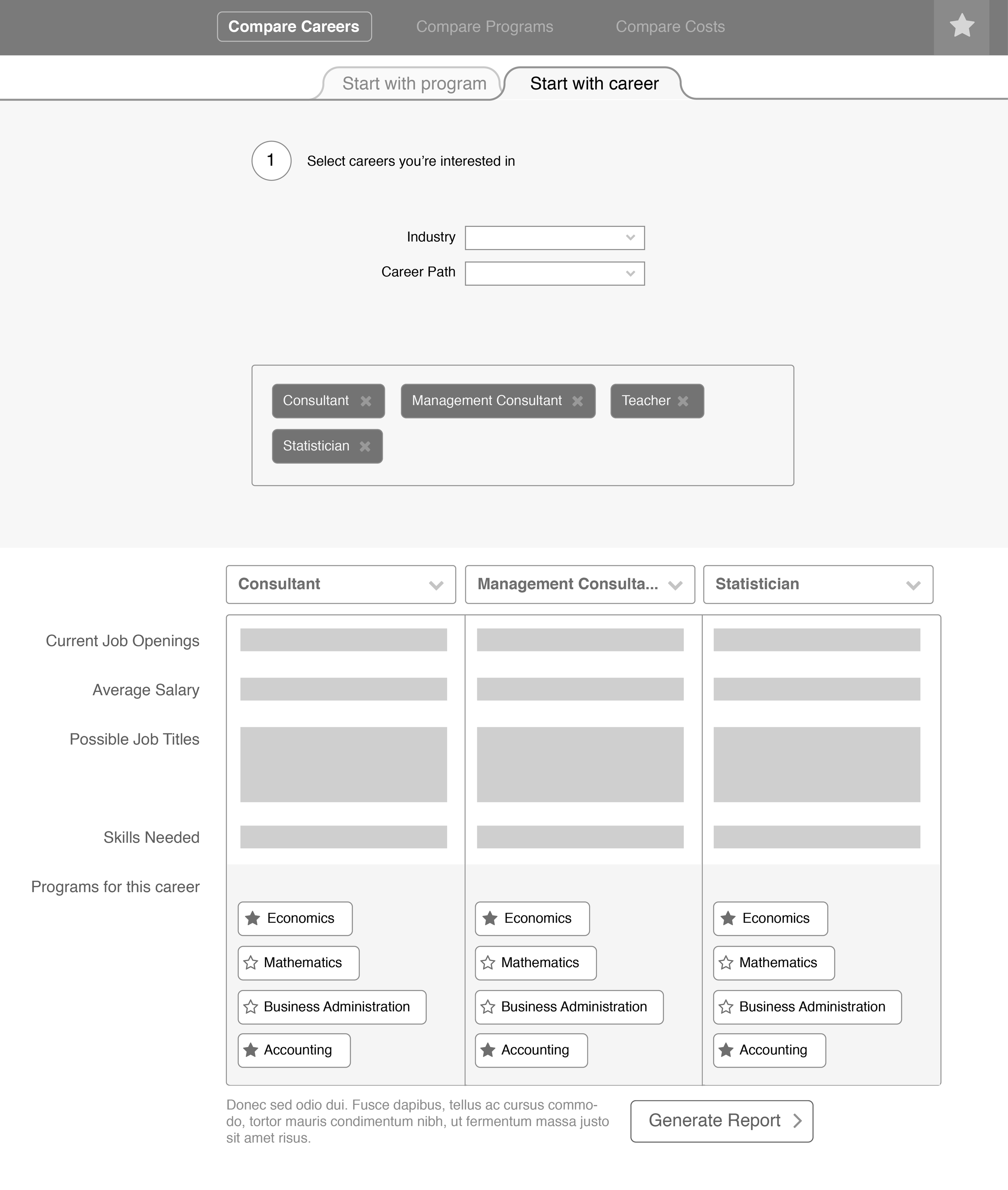 Career comparison wireframe, desktop