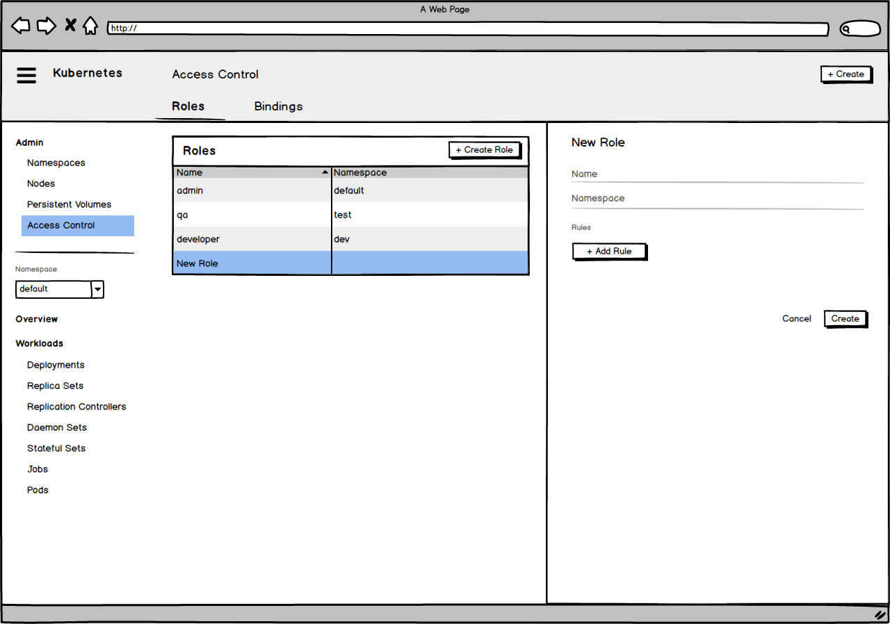 Balsamiq wireframe for RBAC Management