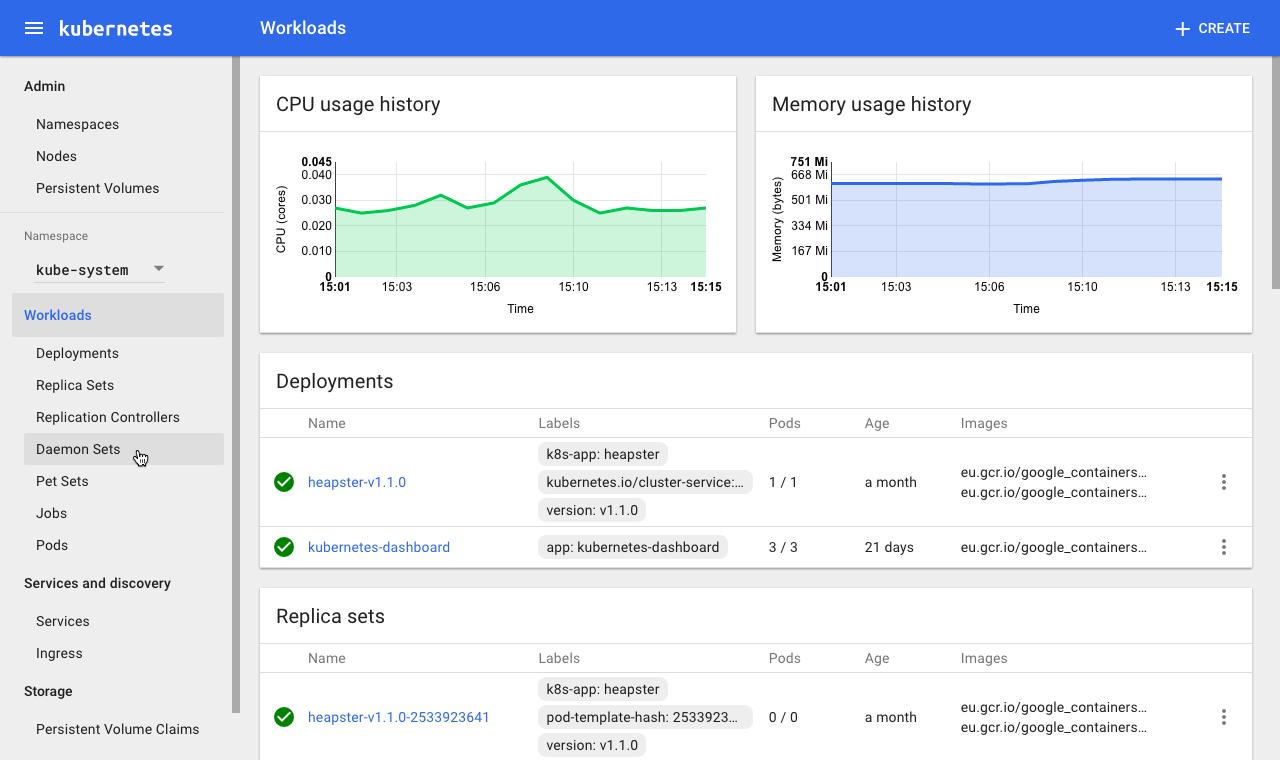 One of Dashboard's key advantages over a CLI is the ability to visualize monitoring and health checks