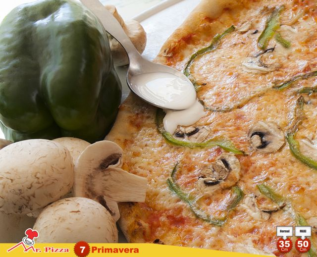 #7 - Primavera  tomate . mozzarella . cogumelos frescos . pimento . natas . oregãos