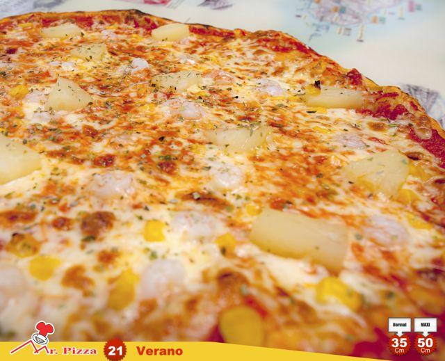 #21 - Verano  tomate . mozzarella . camarão . ananás . milho . oregãos