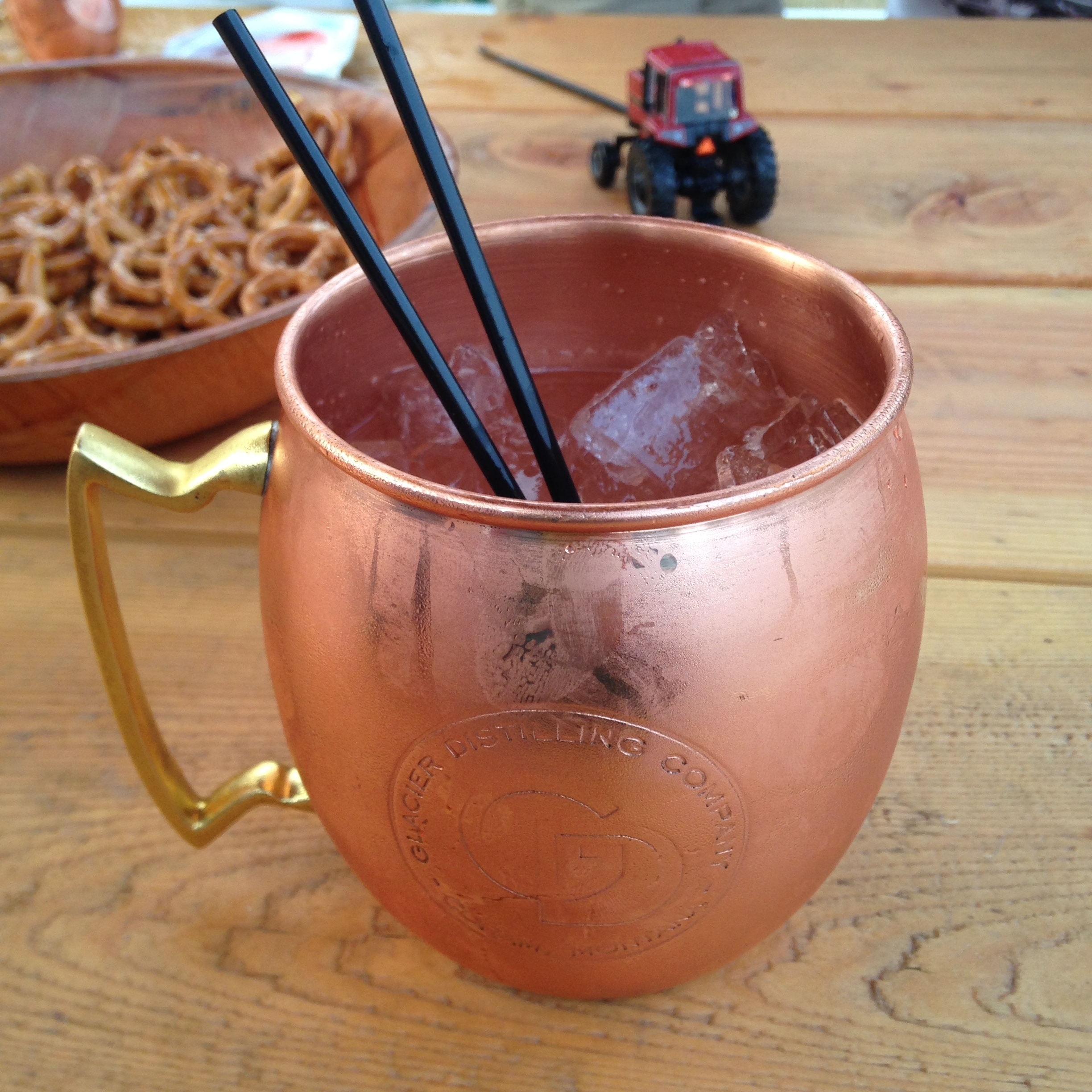 Montana Mule with necessary alcohol-absorbing pretzels behind.