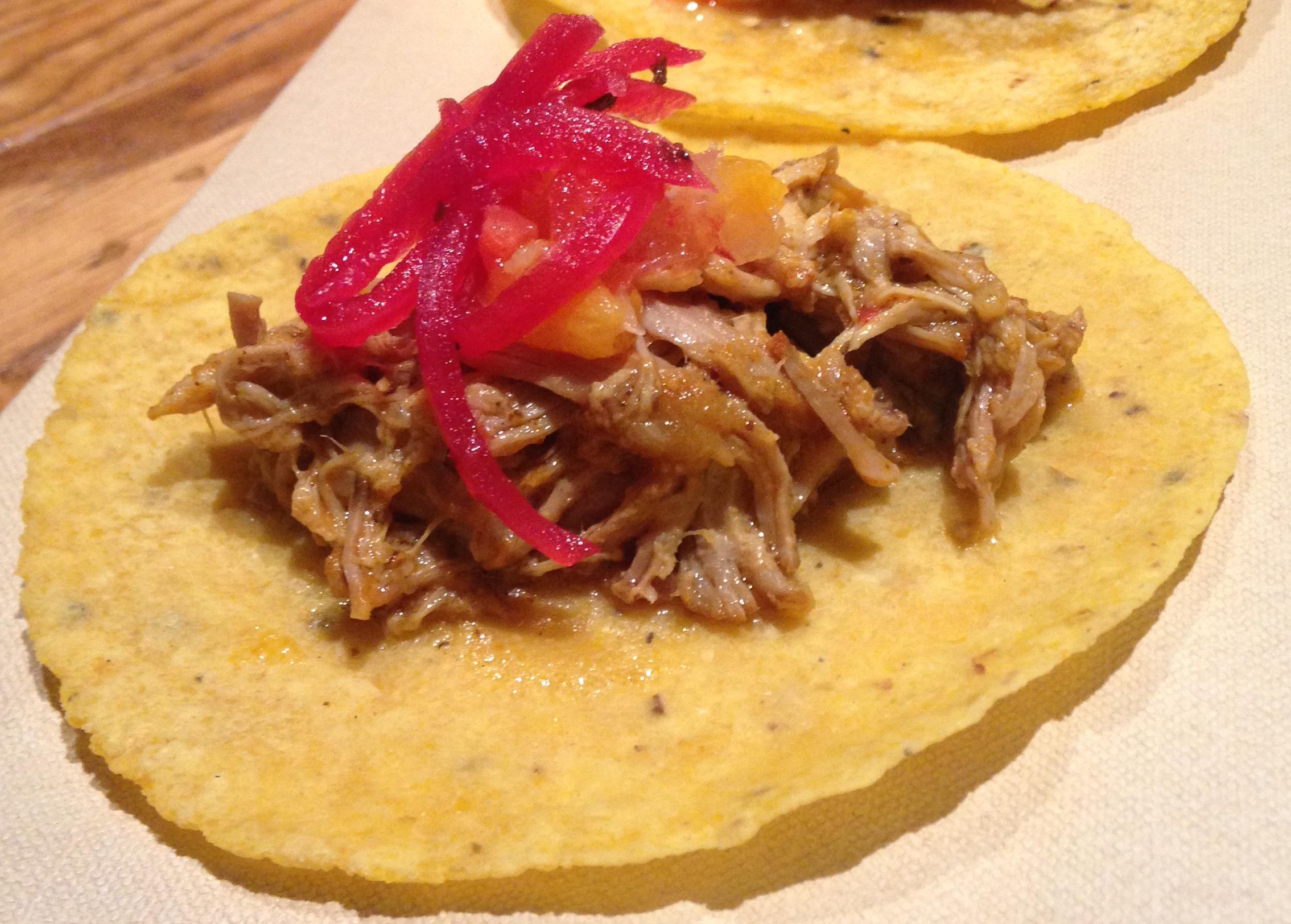 Dry pork, delicious fucking tortilla.