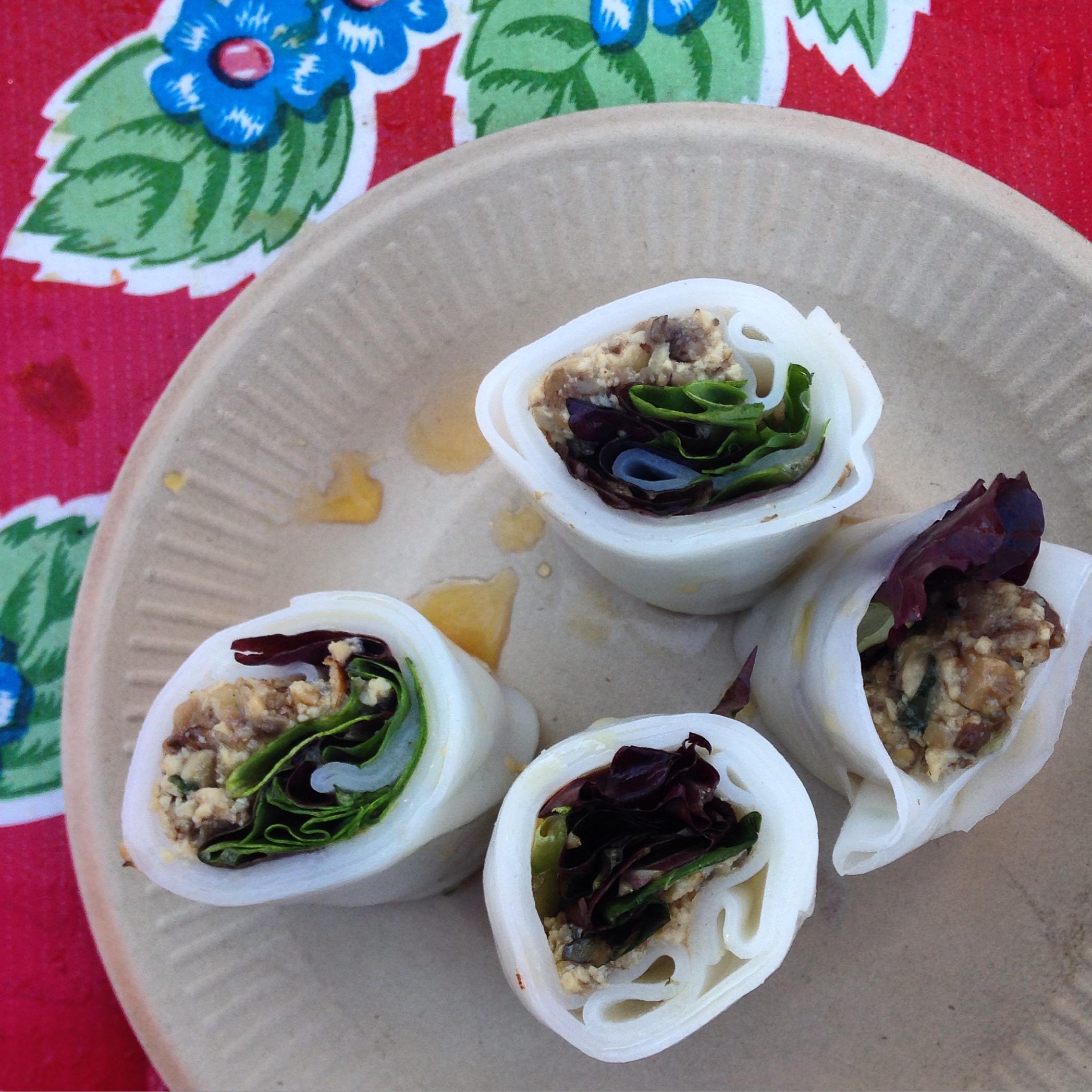 Mushroom pho rolls —pretty weird