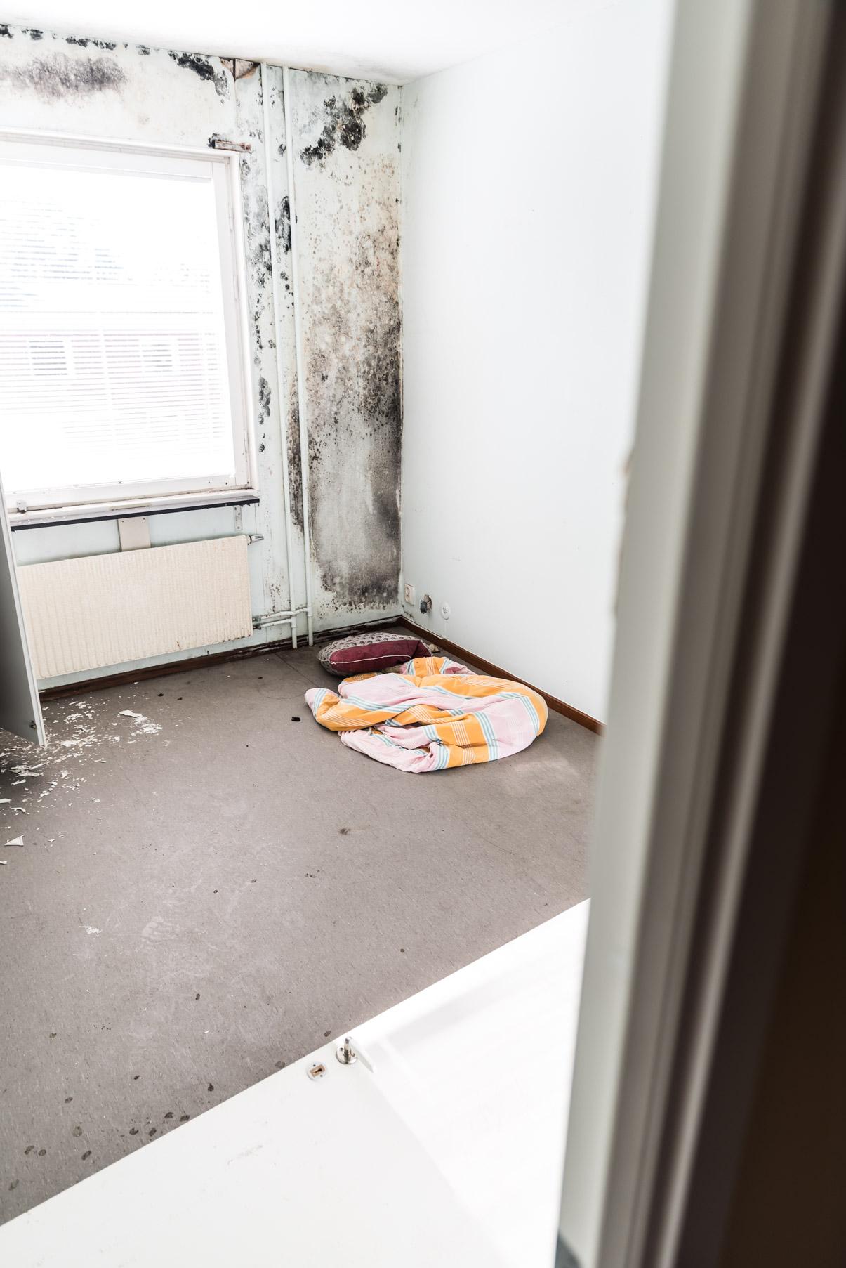 Mögel fanns på många ställen men detta rummet var nog värst. För oss kändes ju val av sovplats lite underligt.
