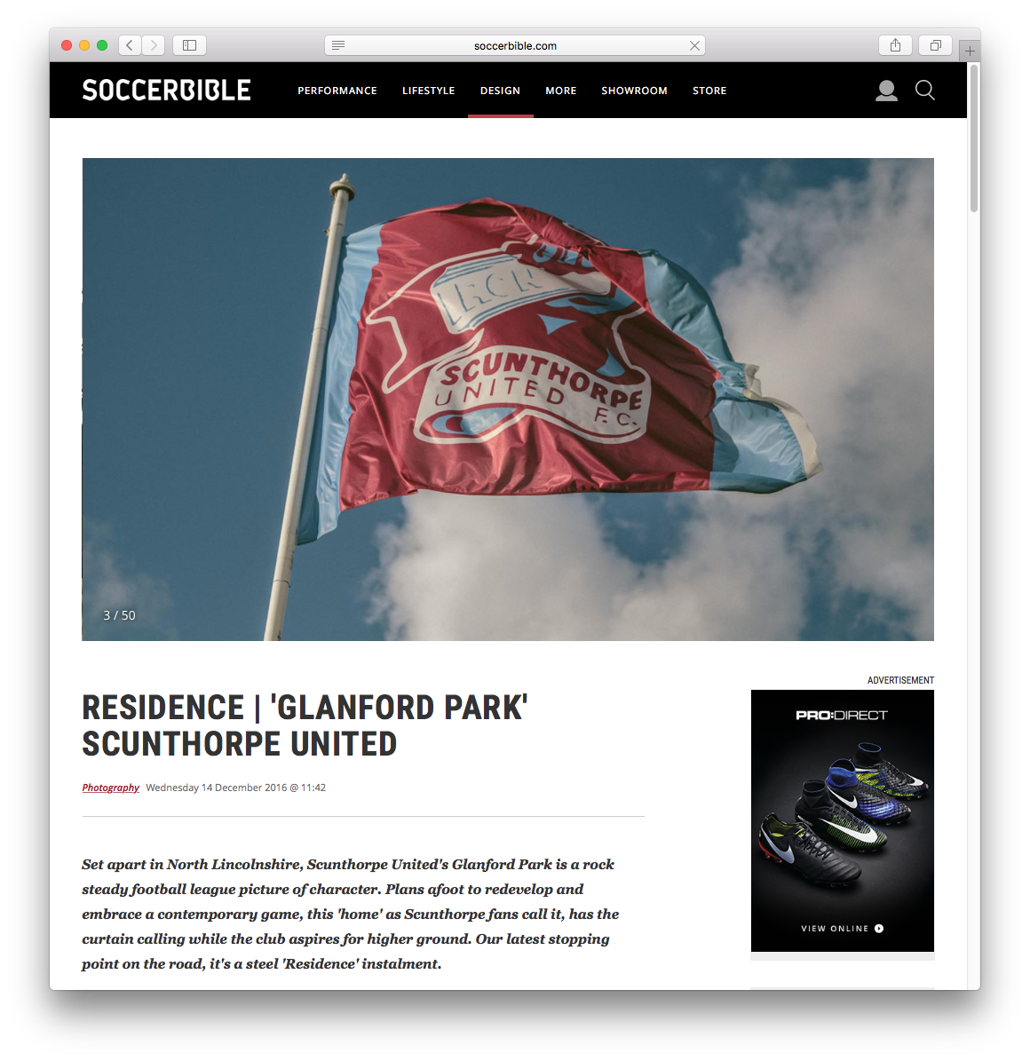 Residence feature at Glanford Park (Home of Scunthorpe United) is now on the Soccer Bible website.